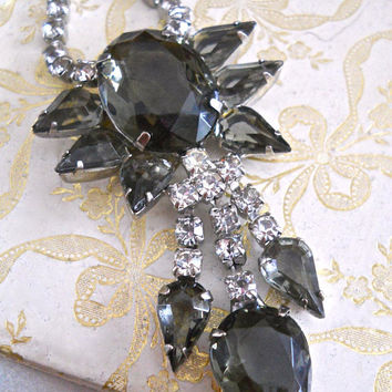 Juliana D&E Smoky Gray-Green Rhinestone Necklace, Dangles, Vintage
