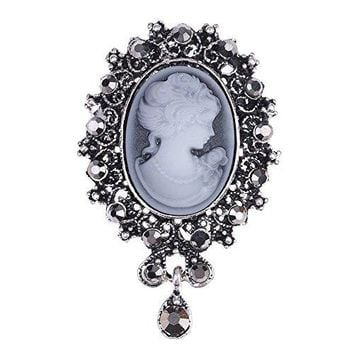 lureme Vintage Elegant Victorian Lady Beauty Cameo with Crystal Brooch Pin br000017