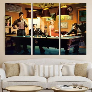 3Panel Vintga Canvas Art Marilyn Monroe Posters and Prints Elvis Presley Humphrey Bogart Pop Wall Art Picture for Living Room