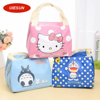 New Insulated Cotton Hello Kitty Lunch Bag Thermal Food Picnic Lunch Bags for Women kids Men Cooler Lunch Box Bag Tote UIE657
