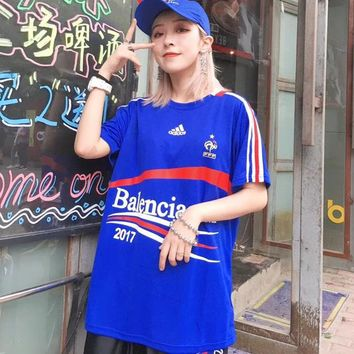 Adidas x Balenciga Women Fashion 2018 Football World Cup Tunic Shirt Top Blouse