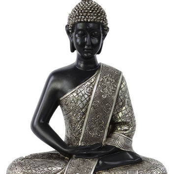 Resin Meditating Buddha Figurine in Dhyana Mudra with Layered Ushnisha Painted Finish Silver
