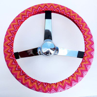 Pink Bohemian Chevron Steering Wheel Cover