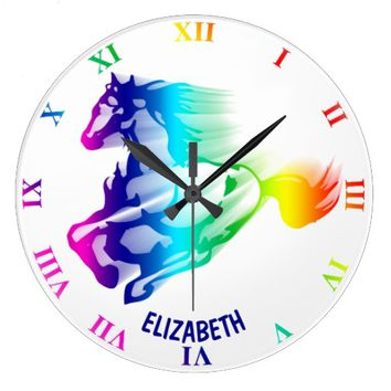 Running Rainbow Horse With Motion Trail Large Clock