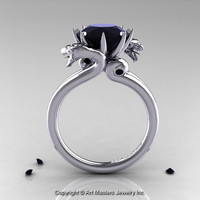 Art Masters 14K White Gold 3.0 Ct Black Diamond Dragon Engagement Ring R601-14KWGBD