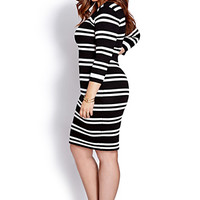 Retro Striped Sweater Dress