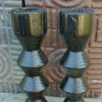 "Set of Wooden Candle Stick Holders,6"" Tall"