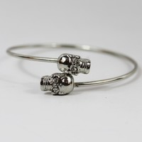 Double Skull Adjustable Bracelet