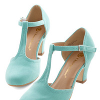 ModCloth Vintage Inspired Hep in Your Step Heel in Aqua