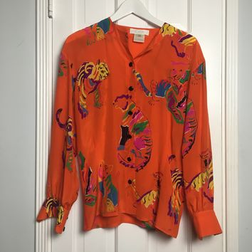 Escada authentic vintage orange silk printed button down oversized shirt