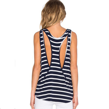 Stripes Vest Stylish Backless Round-neck T-shirts [9022366404]