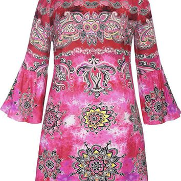 Streetstyle  Casual Off Shoulder Fabulous Printed Bell Sleeve Shift Dress
