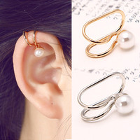 Gold Plated Ear Cuff Earrings High Quality Pearl Clip On Earring Fashion Costume Jewelry Earing for Women  1PC/Price AE203