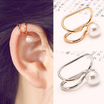 Hot Fashion Jewelry For Women Elegant Simple Pearl Ear Cuff Wrap Clip Earrings Gold Silver Plated 1E203