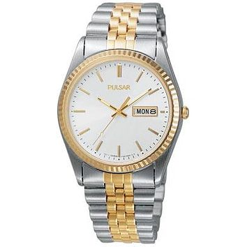 Pulsar Mens Traditional Watch - White Dial - Two Tone Stainless Steel Case