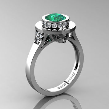 Top Hat Skull 14K White Gold 1.0 Ct Emerald Diamond Solitaire Engagement Ring R1025-14KWGDEM