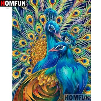 5D Diamond Painting Gold and Blue Peacocks Kit