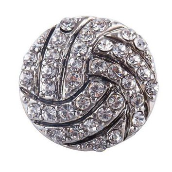 10pcs/lot High Quality 18mm Alloy Football Fashion Snap Button Bracelet Charm Rhinestone Button ginger Crystal Snaps Jewelry