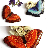 ON SALE Vinous Butterfly brooch pin Free shipping Butterfly jewelry Butterfly art For butterfly lovers Gift for her Clay butterfly  (0138)