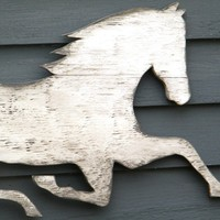 Horse Wooden Sign White Washed Distressed Large by SlippinSouthern
