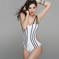 Push Up High Waist Cut Strappy One Piece Swimwsuit