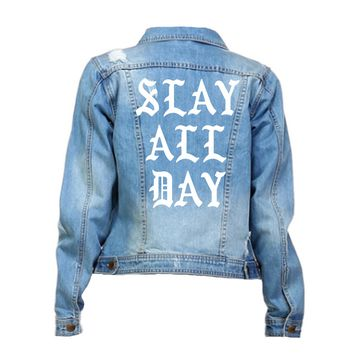 Slay All Day Distressed Mid-Wash Denim Jacket