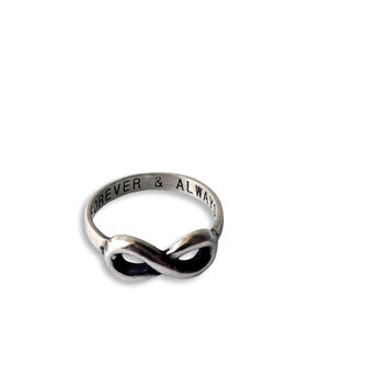 Akeisha Infinity Ring Forever & Always, 925 Sterling Silver
