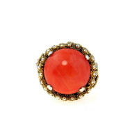 Gilt Silver Filigree Coral Cabochon Statement Cocktail Ring
