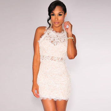 Dress Zippers White Embroidery Lace Round-neck One Piece Dress = 4804247364
