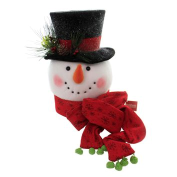 Christmas SNOWMAN TREE TOPPER Fabric Top Hat Carrot Nose 9730877