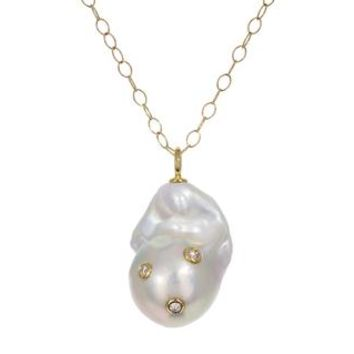 Baroque Pearl and Diamond Pendant Necklace