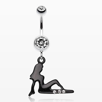 Mudflap Trucker Girl Sparkle Belly Ring