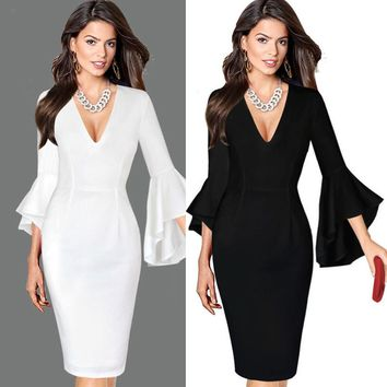 2017KLV Women Sexy Deep V-neck Elegant Work Business Casual Party Flare Bell Long Sleeve Office Party Bodycon Dress#20