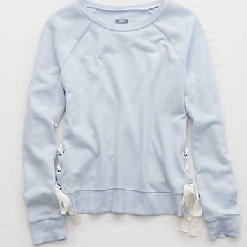 Aerie Lace-Up Crew Sweatshirt, Creme Blue