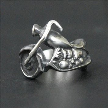 Drop Ship Size 7~13 Fashion Biker Style Engine Ring Silver 316L Stainless Steel Jewelry Men Women Real Biker Ring