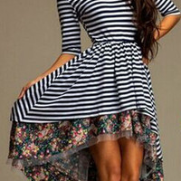 Monochrome Striped Short Front Floral Print Half Sleeve High Waist Midi Skater Dress