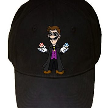 'Plumbtrix' Long Coat Character w/ Mushrooms Floating Funny Video Game & Computer Science Fiction Movie Parody - 100% Cotton Adjustable Hat