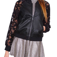 Black Roses Bomber Jacket