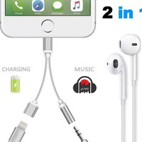 2 in 1 adapter for iPhone 7 Lightning Cable to 3.5 mm Aux Audio Headphone Jack Connector Cable for iPad iPhone 7 7Plus & iPhone se 5s 6 6 Plus +Gift Box