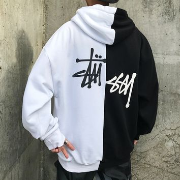 Stussy fashion hot seller casual terry dislocation print patchwork hoodie hoodie color Black+White