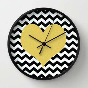 Gold Heart Wall Clock by Haroulita