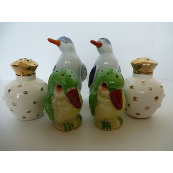 Vintage Salt and Pepper Shakers, Parrot, Penquin, Jar, Set of 3, Made in Japan