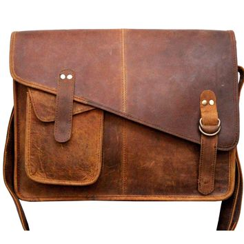 IN-INDIA Modern Trend Magnetic 15 inches Buffalo Hunter Leather Messenger Professional Bag - Fits Laptop Upto 15.6 Inches