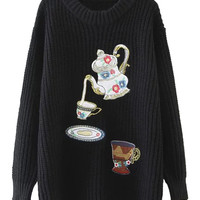 Black Embroidery Patch Detail Long Sleeve Chunky Knit Jumper
