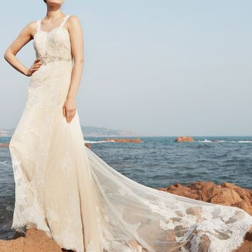 A-Line Wedding Dress Sleeveless Sweep Brush Train Lace Bridal Gown with Beading Draped  robe de mariage