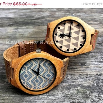SALE Real Wood Watch - Engraving Now! Mens Wood Watches With Genuine Leather.