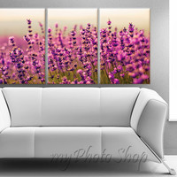 "Framed Large 3 Panel (24"" x 48"") Art Canvas lavender flower Modern Art Giclee Canvas Print - Ready to Hang"