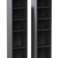 "Sereni-T CD/DVD Storage Towers - 2 pack (Black) (37.875""H x 9.5""W x 5.75""D)"