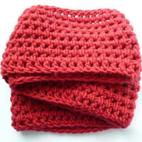 CLOSING SHOP SALE: Crocheted infinity scarf in Cherry Red