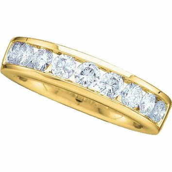 14kt Yellow Gold Women's Round Channel-set Diamond Wedding Band 1-2 Cttw - FREE Shipping (US/CAN) - Size 9